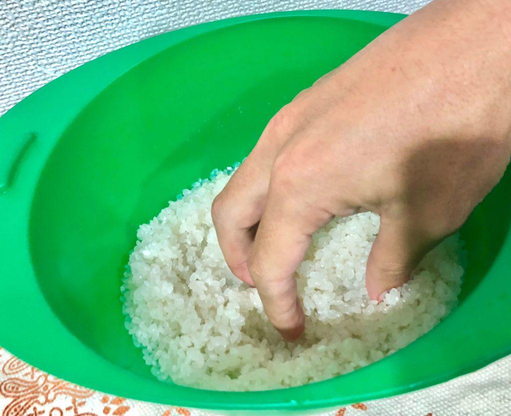 富富富(ふふふ)を洗っているところ