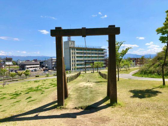 呉羽丘陵多目的広場のターザンロープ