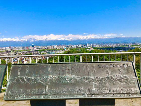 呉羽山公園展望台にある立山連峰のプレート