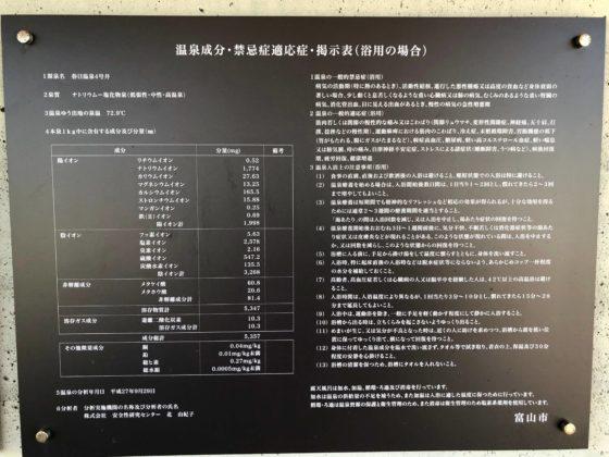 ピエ・パルクの足湯の温泉成分表