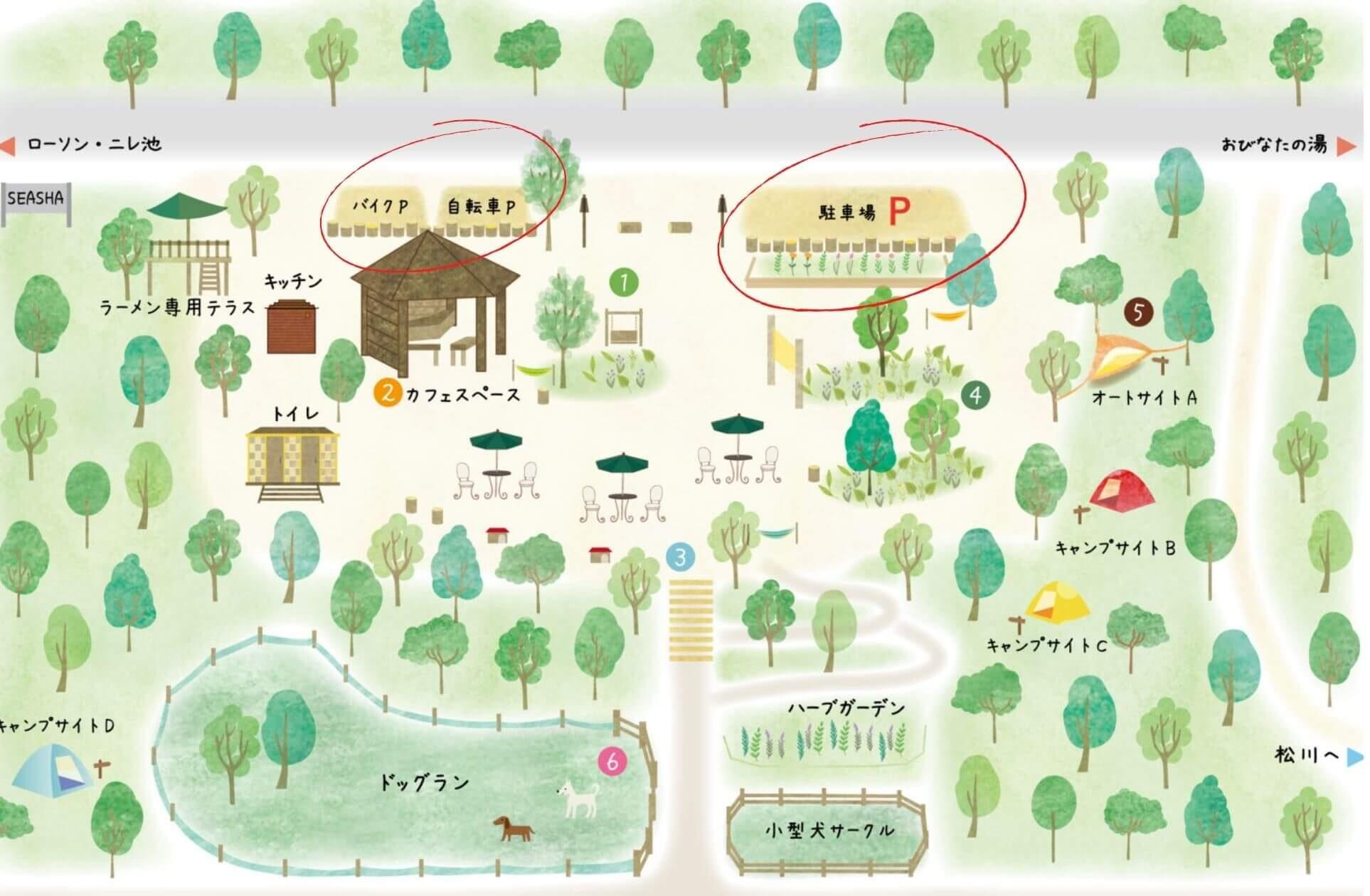 森のカフェシーシャの駐車場見取り図